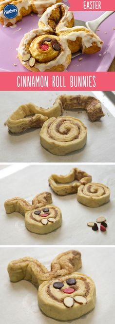 Easter just got cuter! Surprise your family Easter morning with these Cinnamon Roll Bunnies. They're super easy so your kids can help you make these adorable bunny rolls topped with candy and almonds.