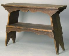 Pine bucket bench, late 19th c., 30'' h., 42'' w.