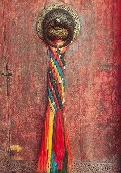 Detail view of brass door handle in Potala Palace, Tibet #PhotojournalismTibet