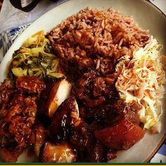 Taste of Jamaica, Jerked Pork, chicken, Rice and peas, vegetables