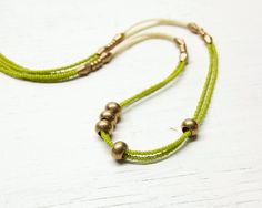 Beaded Necklace // Olive Green and Brass // Flow no1