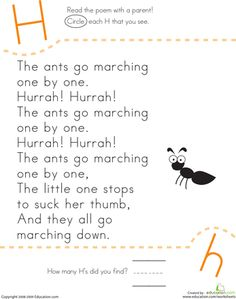 Worksheets: Find the Letter H: The Ants Go Marching
