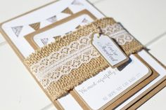 Rustic lace and hessian bunting wedding invitation