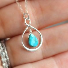 Turquoise Infinity Necklace - Bridesmaid Necklace - 12 Custom Birthstones