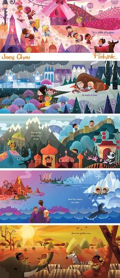Illustrations of different parts of the world + cultures + people