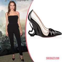 Angelina Jolie in Christian Louboutin Custom Sculpted Patent Leather & Nude Mesh Wedges - ShoeRazzi