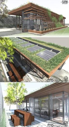 bus shelter, garage, station, pavilion, retail, quick stop - with solar panels and a green living roof