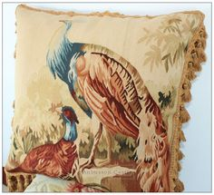 Aubusson rugs -Aubusson pillows -Aubusson Sofa Chair Covers -Needlepoint rugs. Handwoven French Aubusson. Antique reproduction French pictorial aubusson pillow/cushion cover. ~ Antique Decor Pictorial Peacock ~. | eBay!