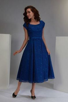 Modest formal royal blue dress.