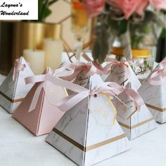 fine New Europe Triangular Pyramid Style Candy Box Wedding Favors Party Supplies Paper Gift Boxes with THANKS Card & Ribbon Candy Wedding Favors, Wedding Gift Boxes, Wedding Cards, Wedding Gifts, Ribbon Wedding, Wedding Ideas, Paper Gift Box, Paper Gifts, Diy Party Bags