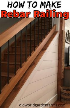 How To Make Rebar Railing - what you need to do it yourself. Creating homemade porch railings from rebar. Not only do these DIY rebar railings save big money over traditional wood spindles, they look great too! Rebar Railing, Diy Stair Railing, Loft Railing, Deck Stairs, House Stairs, Porch Railings, Deck Railing Ideas Diy, Porch Railing Designs, Aluminum Railings