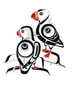 Tufted Puffins Glen Rabena, Haida art is my favourite. Inuit Kunst, Arte Inuit, Inuit Art, Native American Design, American Indian Art, Arte Tribal, Tribal Art, Doodles Zentangles, Kunst Der Aborigines