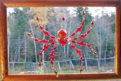 Venetian Glass - Beaded Christmas Spider Ornament & Legend – Red with Gold Foil by TheUncommonSpider on Etsy
