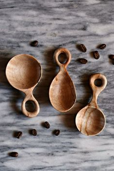 Hand Carved Scoop Set Wooden Coffee Scoops American Made Wooden Spoon Carving, Carved Spoons, Wood Spoon, Wood Carving, Dremel Carving, Got Wood, Wood Sculpture, Abstract Sculpture, Bronze Sculpture