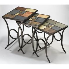 Hillsdale Furniture Pompei Slate 3 Piece Nesting Tables