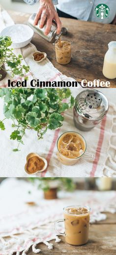 Iced Cinnamon Coffee Recipe: Fill a cocktail shaker with 5 oz double-strength coffee (try Starbucks® Guatemala Antigua), 1 tbsp sweetened condensed milk and a pinch of ground cinnamon. Stir well. Add 1 cup ice. Cover the cocktail shaker and shake vigorous