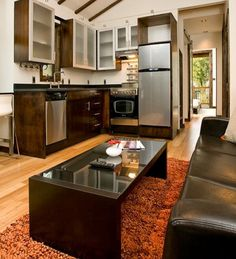 Tiny garden house kitchen and living