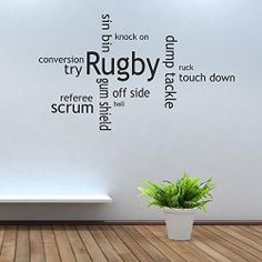 iClobber Rugby Collage Gum Shield ball scrum cap Design Wall Art Mural Sticker Quote Picture Vinyl Art Large Dark Blue. - This Listing is for a Rugby Collage Wall Art. A Beautiful accessory to any wall. Product Features Beautiful Wall Art to transform your home For personalised wall art or reversed for windows