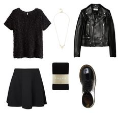 Black 2 Black by fechi-nmereole on Polyvore featuring polyvore, мода, style, Yves Saint Laurent, Vero Moda, Falke and Dr. Martens