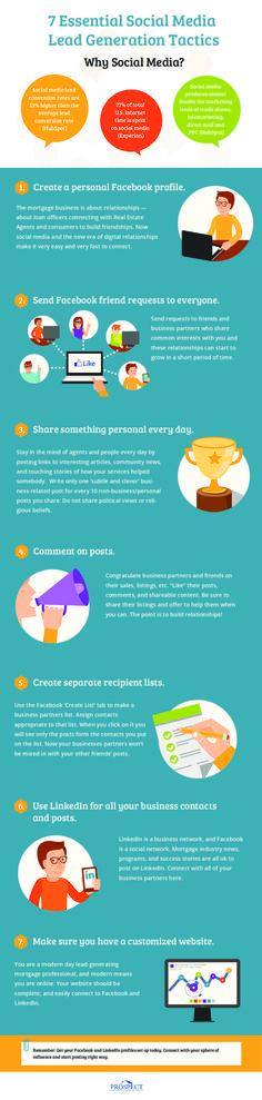 7 tácticas para generar leads con Redes Sociales #infografia #socialmedia #marketing