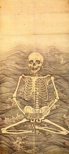 """""""Skeleton's Zen meditation on the wave"""" by Oukyo Maruyama Skull And Bones, Japanese, Skull Art, Danse Macabre, Art, Dark Art, Skeleton Tattoos, Japan Art, Sacred Art"""