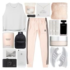 """AT THE SPEED OF LIGHT"" by glowing-eyes ❤ liked on Polyvore featuring Estée Lauder, adidas, NIKE, Pillow Decor, RMK, Davines, Polaroid, Dogeared, Christy and Narciso Rodriguez"