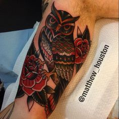 Inner arm owl #owl #tattoo #traditional #rose @salonserpenttattoo