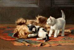 Dolph, John Henry (b,1835)- Dog & Cats, I