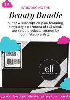 Introducing the e.l.f. Beauty Bundle! Our NEW subscription plan featuring a mystery assortment of full-sized, top-rated products curated by our expert makeup artists! Sign up TODAY at beautybundle.eyeslipsface.com!