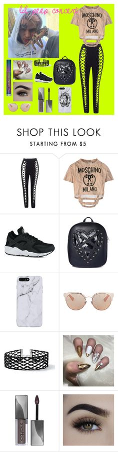 """""""lil peep concert outfit #1"""" by abbyboudreau ❤ liked on Polyvore featuring Moschino, NIKE, Killstar, Christian Dior, Miss Selfridge and Urban Decay"""