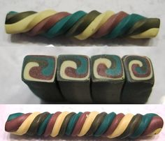Hey, I bet I could teach that to beginners in a two hour class! By Simple Inspirations by Sandy: Extruded spirals - week 12 of canes Polymer Clay Kunst, Polymer Clay Canes, Polymer Clay Miniatures, Polymer Clay Pendant, Fimo Clay, Polymer Clay Projects, Polymer Clay Creations, Ceramic Clay, Polymer Clay Jewelry