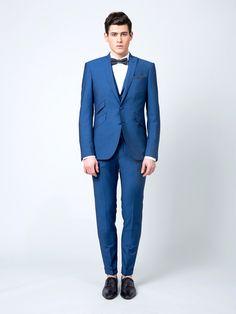 tendances pour le marié costume bleu roi samson noeud papillon