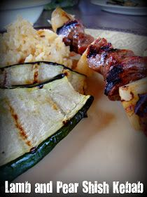 Pear and lamb shish kebab.  For my Total Elimination Diet.