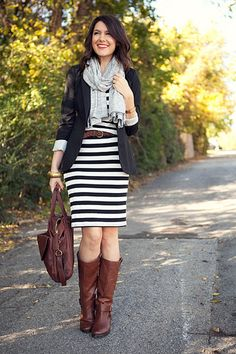 scarf + boots + stripes + blazer = kendi always has the best outfits.