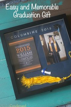 This graduation shadow box, filled with memorabilia to remind your graduate about their graduation day, is a memorable and easy graduation gift idea that will be cherished for years to come.
