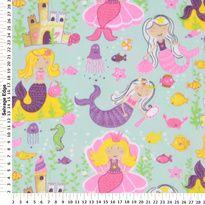 Fleece - Mermaid Princess on Aqua Fleece Fabric
