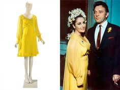 """Estimated value: $40,000 - $60,000 Taylor's Cleopatra costumer Irene Sharaff made this silk chiffon dress for the star's first wedding to Richard Burton in Montreal in 1964. """"It's kind of Cleopatra goes '60s,"""" says Christie's fashion curator Meredith Etherington-Smith."""