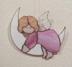LOVELY ANGEL ON THE MOON ✿ TIFFANY STAINED GLASS   from DARE TO DREAM  by DaWanda.com