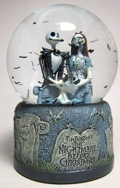 Jack Skellington and Sally in graveyard bats snowglobe/waterball