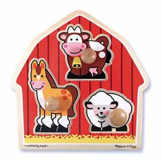 $9.99 - Charming farm friends live in the red barn and are always ready for puzzle play. • This extra thick wooden puzzle includes three pieces, with jumbo wooden knobs for easy grasping. • Full-color, matching pictures appear underneath each piece. • A great activity to encourage hand-eye and visual perception skills.rrDimensions: 1.7 x 12 x 12.5 Assembled Like puzzles? See ?em all here!