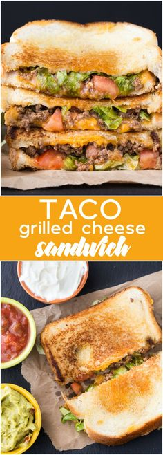 Taco Grilled Cheese Sandwich - Celebrate National Grilled Cheese Day by taking t. - Taco Grilled Cheese Sandwich – Celebrate National Grilled Cheese Day by taking two recipe favourit - Grilling Recipes, Lunch Recipes, Mexican Food Recipes, Cooking Recipes, Healthy Recipes, Good Recipes, Recipes Dinner, Gourmet Food Recipes, Vegetarian Grilling