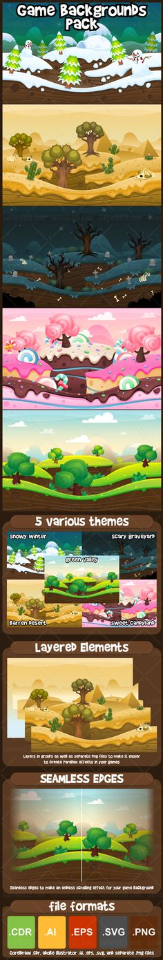 A pack contains high quality game backgrounds for 2D video games. With 5 distinct themes, you can use them in various game. #2d #game #assets #sprite #background #level #world