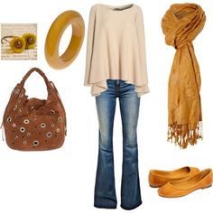 Yellow Bangle Fall Casual, created by ggdesigns on Polyvore