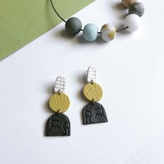 Your place to buy and sell all things handmade – jewelry Polymer Clay Crafts, Handmade Polymer Clay, Polymer Clay Jewelry, Diy Clay Earrings, Green Earrings, Dangle Earrings, Statement Earrings, Biscuit, Homemade Jewelry