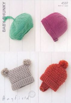 Hayfield baby chunky hats 4597