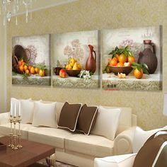 Two Old Guys -Collectibles : 3 Piece Canvas Kitchen Fruit Pictures Print Oil Wall Paintings Modern Painting On Art Modular Picture Cuadros Decoracion Living Room Prints, Living Room Art, Modern Art Prints, Modern Wall Art, Canvas Home, Canvas Wall Art, Multiple Canvas Paintings, Wall Paintings, Fruit Picture