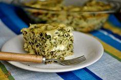 Noodles, spinach & feta gratin