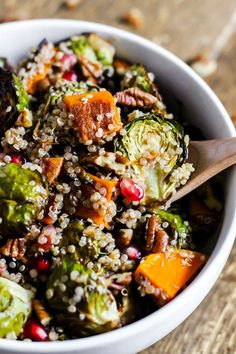 Fall Brussels Sprouts Quinoa Salad - If brussels sprouts and butternut squash wasn't enough, the pecans make this salad amazing.