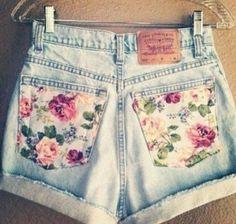 Cute easy to make - Vintage Floral Pocket High Waisted Levi's Shorts Levi Shorts, High Waisted Shorts, Waisted Denim, Denim Cutoffs, Women's Shorts, Sport Shorts, Running Shorts, Casual Shorts, Diy Jeans To Shorts