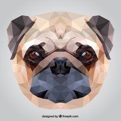 Cão pug poligonal Vetor grátis